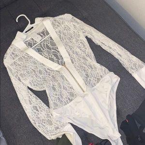 Banjul Tops - White lace bodysuit shirt